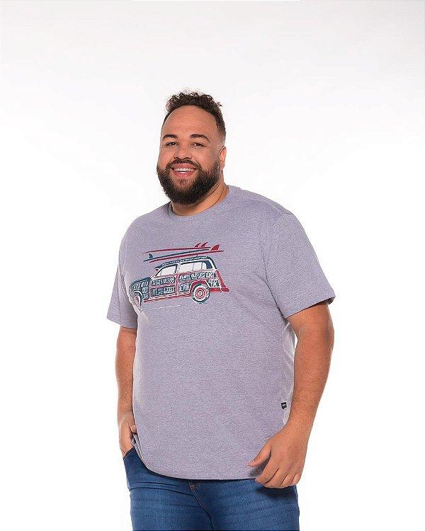 Camiseta Masculina Estampada Carro Cinza Plus Size XP Ao G5 508