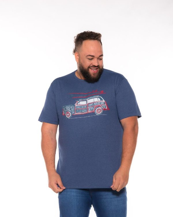 Camiseta Masculina Estampada Carro Azul Plus Size XP Ao G5 507