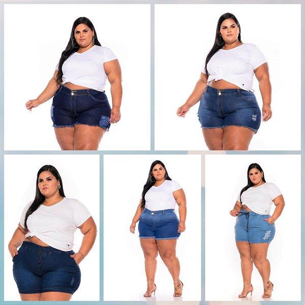 Short Jeans Stretch Feminino Plus Size Pequenos Defeitos 44 ao 70