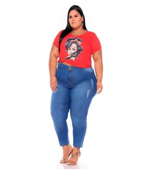 Calça Capri Stretch Clear Com Puidos e Used Plus Size 44 ao 70 3209