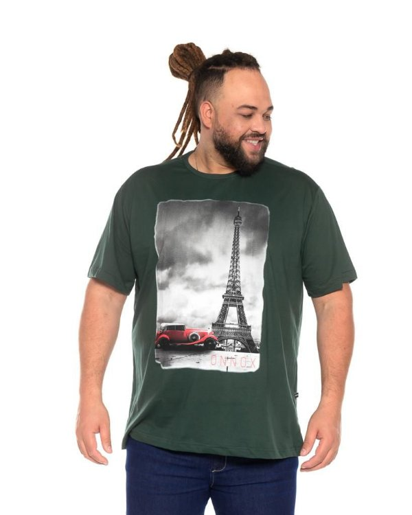 Camiseta Masculina Estampada Torre Verde Plus Size XP ao G5