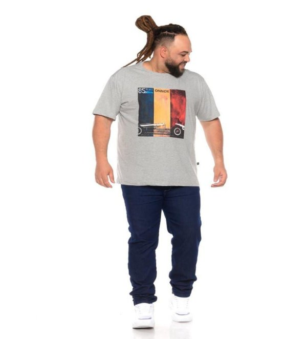 Camiseta Masculina Estampada 85 Yeras Cinza Plus Size XP ao G5
