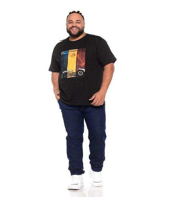 Camiseta Masculina Estampada 85 Yeras Preta Plus Size XP ao G5