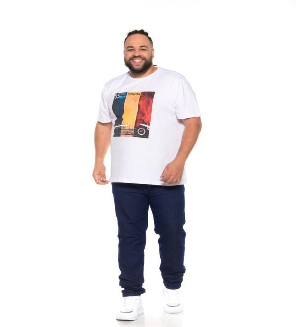 Camiseta Masculina Estampada 85 Yeras Branca Plus Size XP ao G5