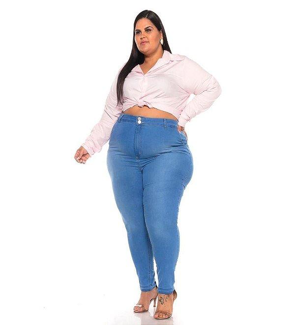 Calça Jeans Stretch Lavagem Clear Cintura Alta Bolso faca 44 ao 70 3246