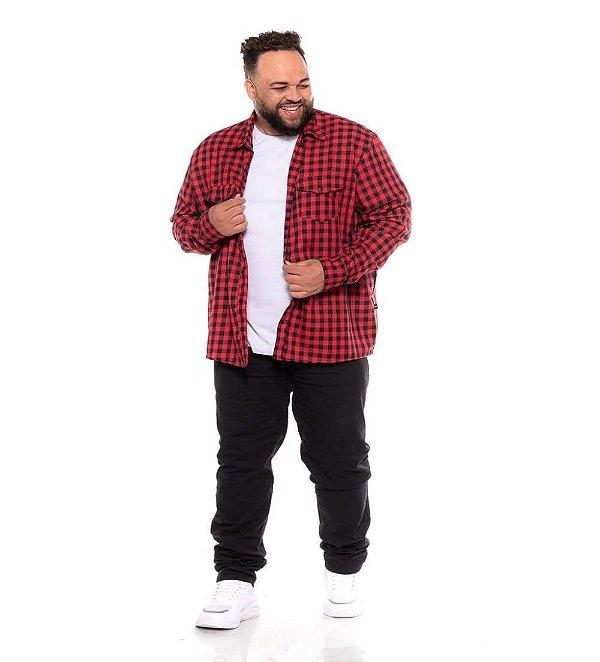 Camisa Masculina Flanela Xadrez Vermelha Manga Longa Plus Size  2051