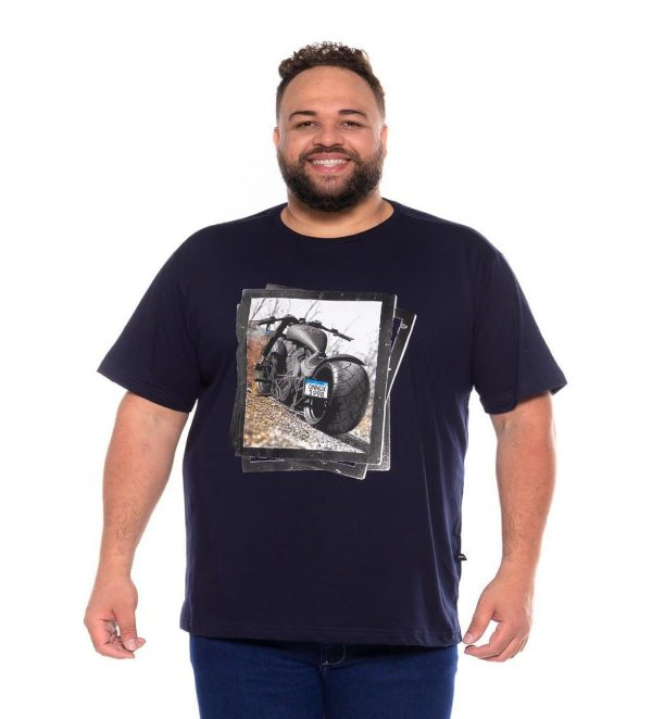 Camiseta Masculina Estampada Onnox Moto Marinho Plus Size XP ao G5