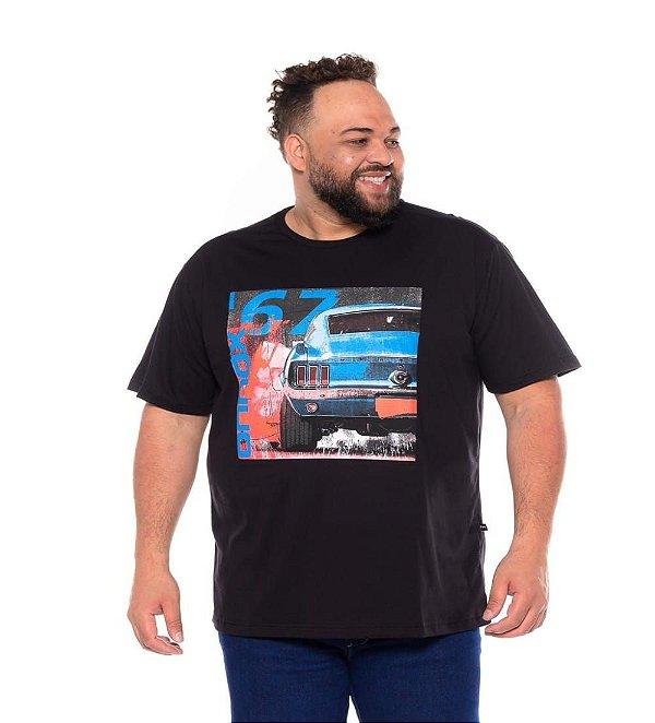 Camiseta Masculina Estampada Opala 67 Preta Plus Size XP ao G5