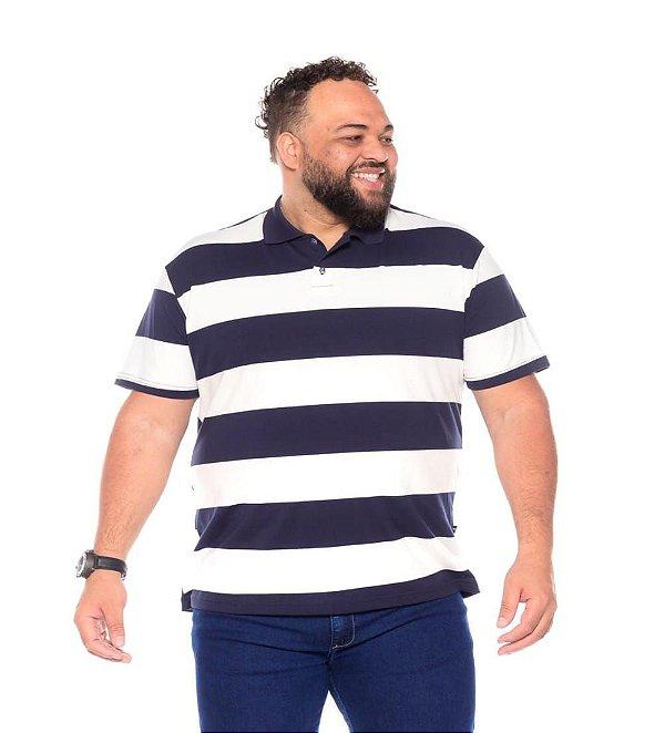 Camiseta Gola Polo Listrada Plus Size Masculino Marinho Com Branco XP Ao G5