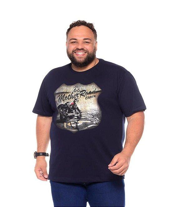 Camiseta Masculina Estampada Route 66 Marinho Plus Size XP ao G5