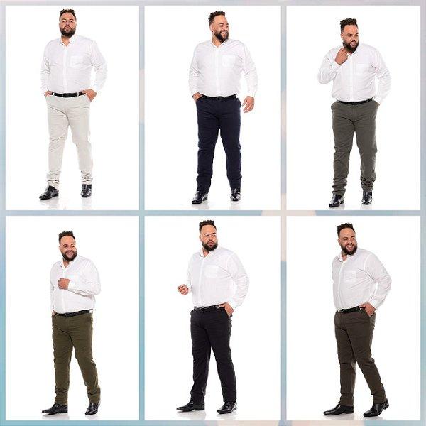 Calça Masculina Sarja Stretch Sport Fino Plus Size Pequenos Defeitos 50 ao 78 2080