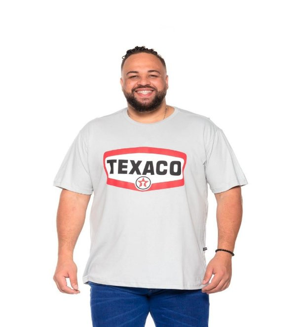 Camiseta Estampada Masculina Texaco Cinza Plus Size XP ao G5