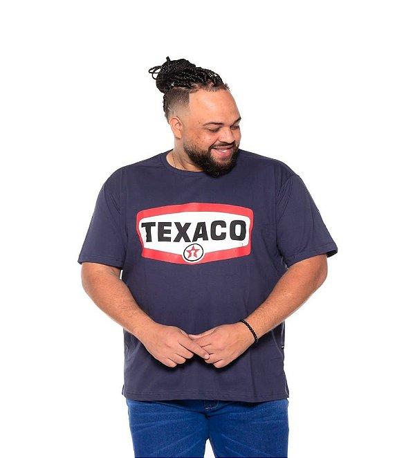 Camiseta Estampada Masculina Texaco Marinho Plus Size XP ao G5
