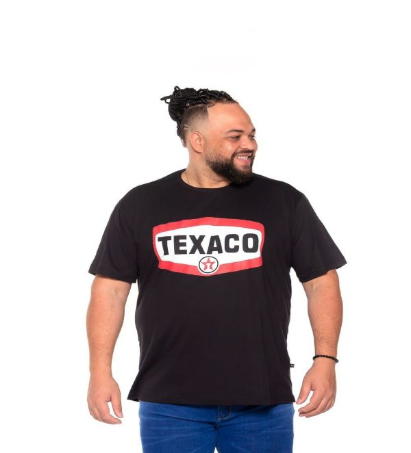 Camiseta Estampada Masculina Texaco Preta Plus Size XP ao G5