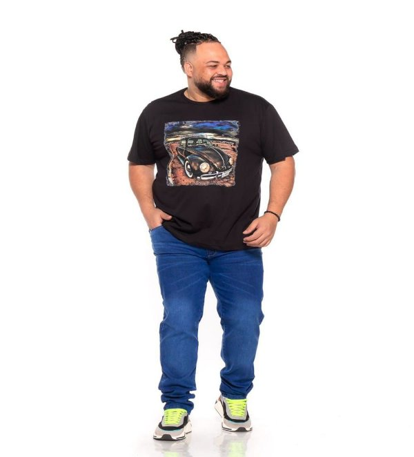 Camiseta Estampada Masculina Fusca Preta Plus Size XP ao G5