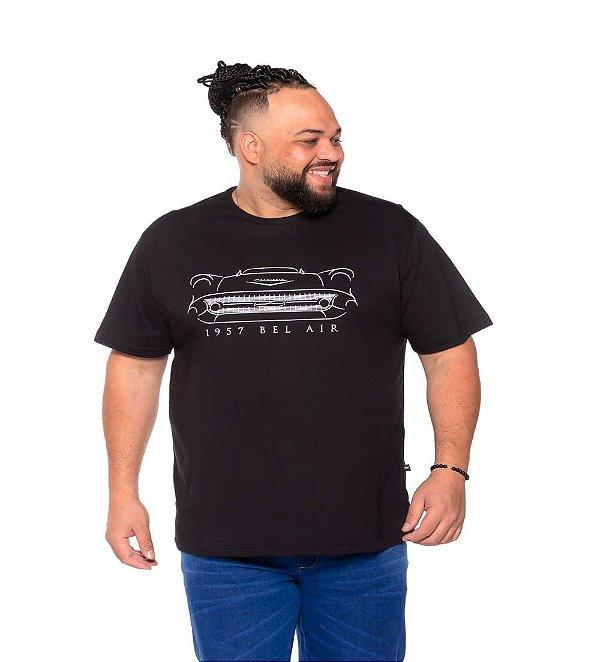 Camiseta Estampada Masculina Bel Air  Preta Plus Size XP ao G5