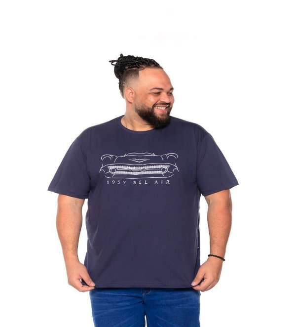 Camiseta Estampada Masculina Bel Air Marinho Plus Size XP ao  G5