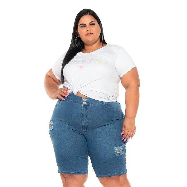 Bermuda Ciclista jeans Stretch Clear Rasgada Feminina 44 ao 70 3253