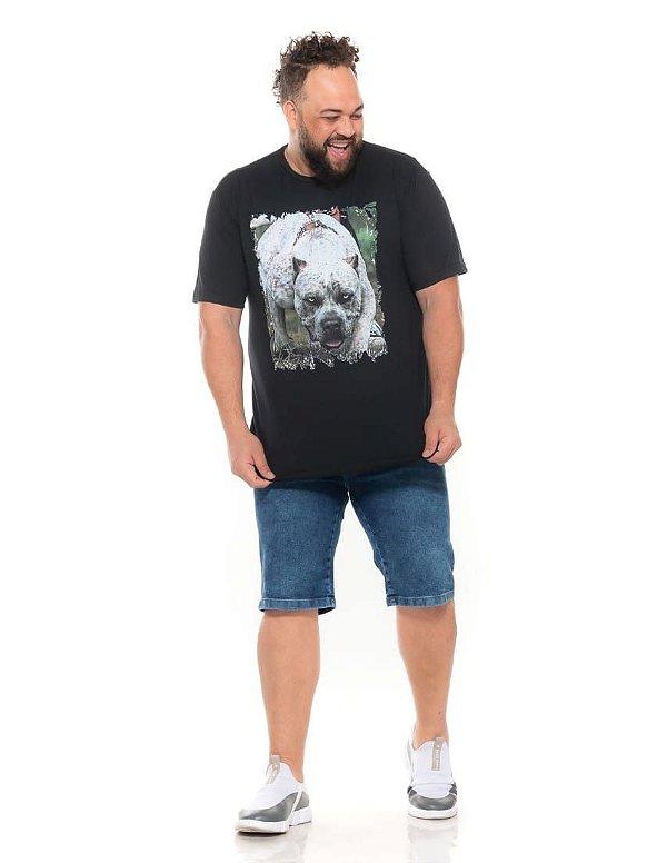 Camiseta Estampada Masculina Pitbull Preta Plus Size XP ao G5