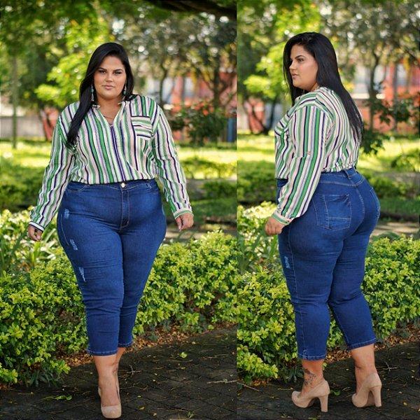 Calça Capri Jeans Stretch com Puído 3072