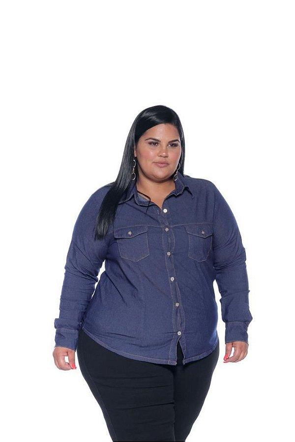 Camisa Jeans Feminina Stretch Plus Size 3167