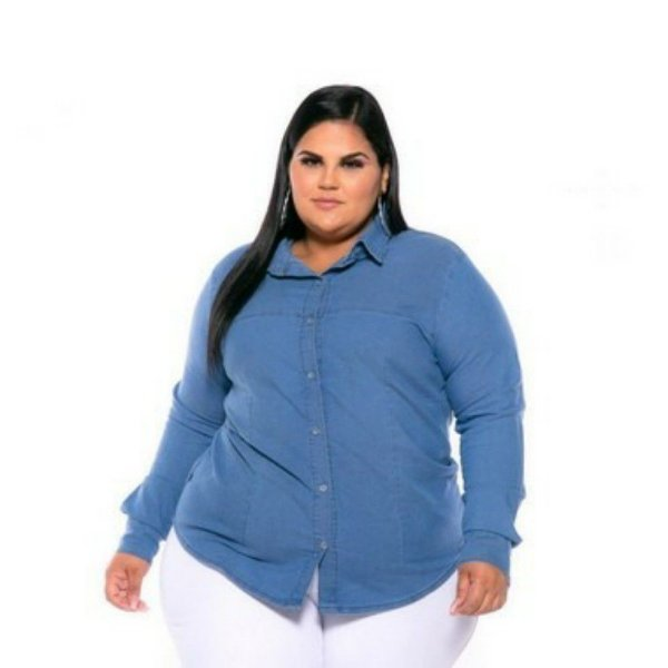 Camisa Jeans Stretch Manga Longa Sem Bolso Lavagem Clear Plus Size XP AO G5 3166
