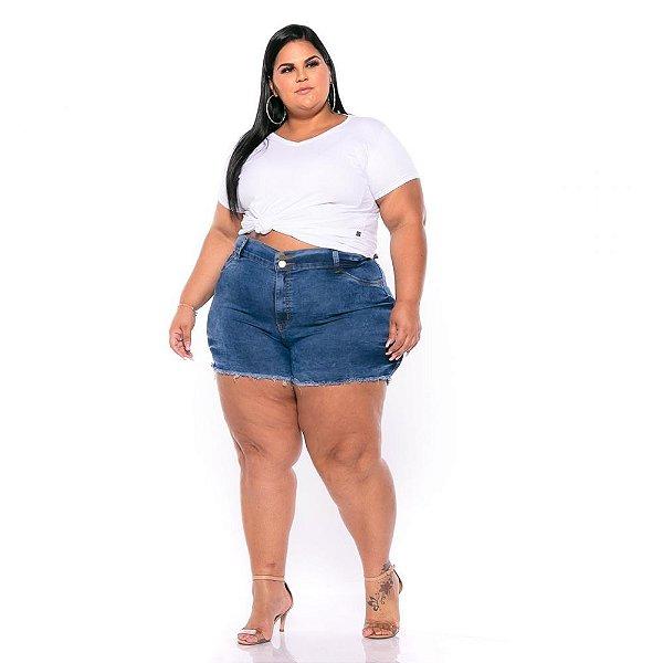 Short Jeans Stretch Lavagem Sky Efeito 3D Feminino Plus Size 62 ao 70 3223