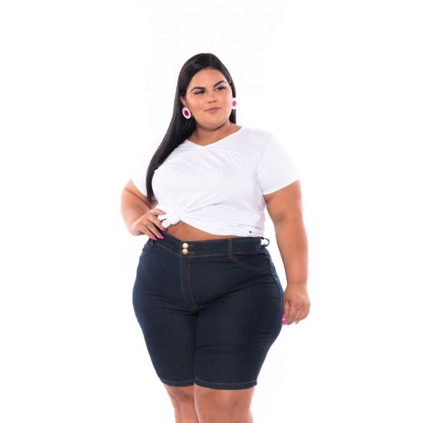Bermuda Ciclista Jeans Lavagem Amaciada Feminina Plus Size 68 ao 70  3193