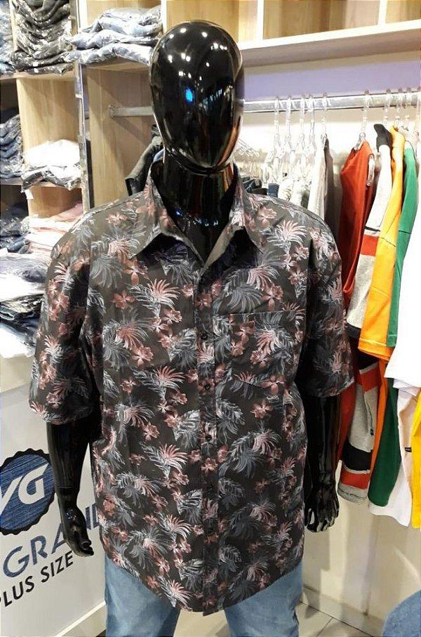 Camisa Masculina Estampada de Linho Preta Floral  Plus Size  2033