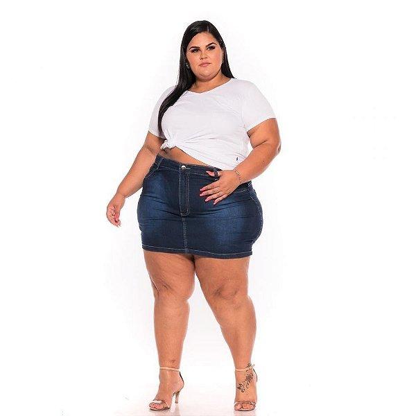 Mini Saia Jeans Escura com Bordado 62 ao 70 3221