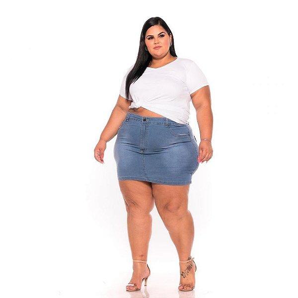 Mini Saia Jeans Clara com Bordado 44 ao 60 3220