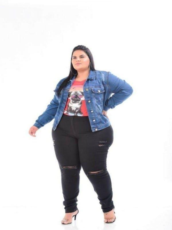 Jaqueta Jeans Feminina Stretch Plus Size 3144