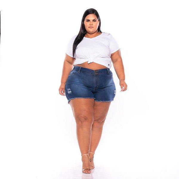 Short Jeans Stretch Rasgadinho Feminino Plus Size 44 ao 60 3225