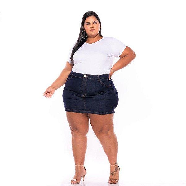 Mini Saia Jeans Com Stretch Bordado Plus Size 44 ao 60 3227