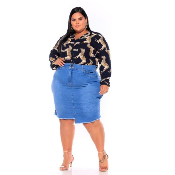 Saia Jeans Secretaria Stretch Clear Clara Barra Desfiada 62 ao 70 3216