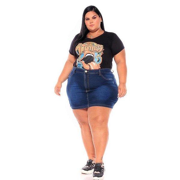 Mini Saia Jeans com Puido Nos Bolsos 62 ao 70 3214