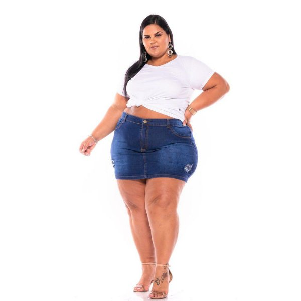 Mini Saia Jeans Com Stretch Bordada Plus Size 44 ao 60 3228