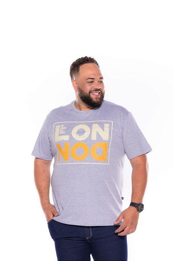 Camiseta Masculina Estampada London Plus Size Cinza Mescla Xp Ao G5