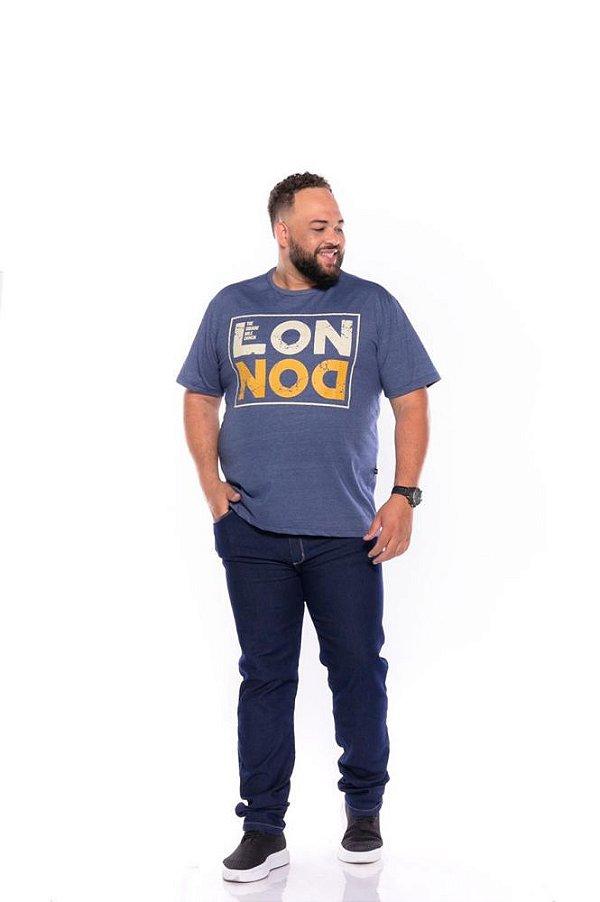 Camiseta Masculina Estampada London Plus Size Azul Xp Ao G5