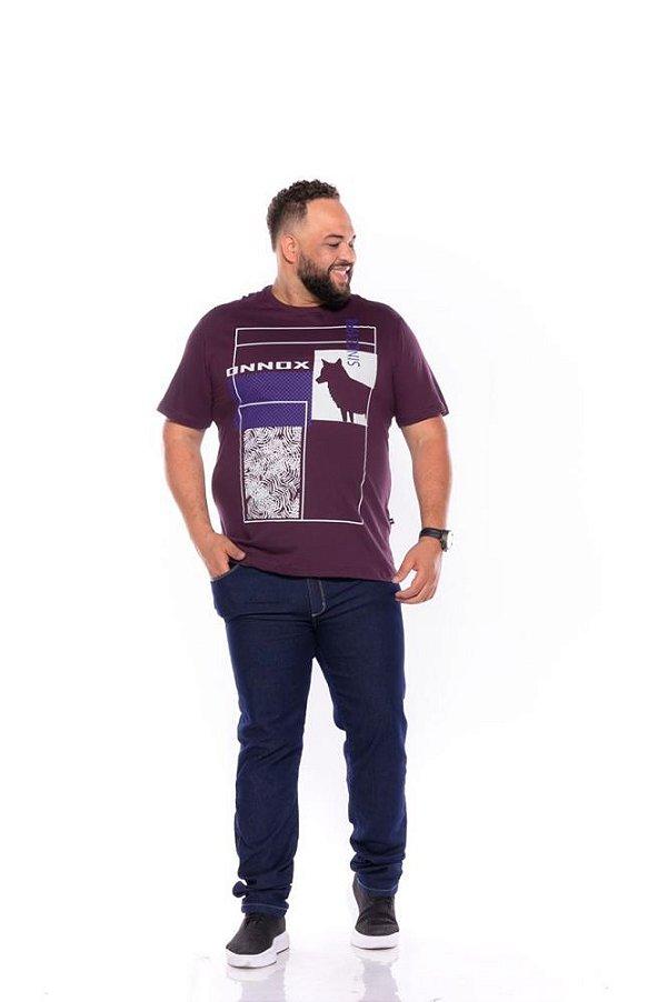 Camiseta Masculina Estampada Onnox Lobo Plus Size Roxa Xp Ao G5