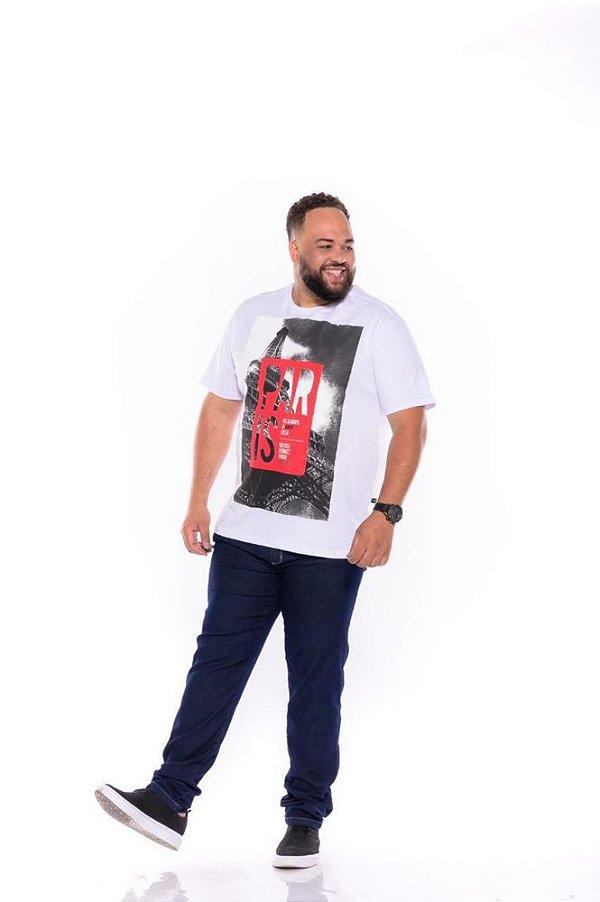 Camiseta Masculina Estampada París Plus Size Branca Xp Ao G5