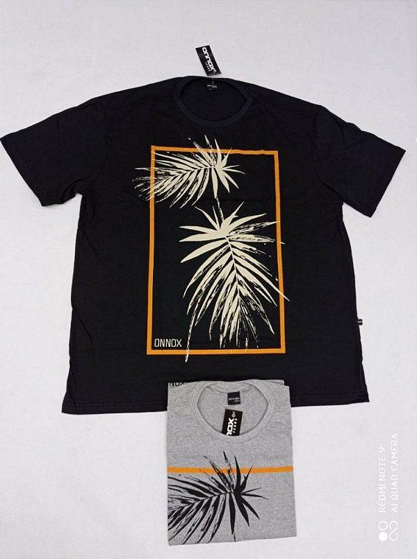 Camiseta Masculina Estampada Onnox Folha Plus Size Cinza Xp Ao G5