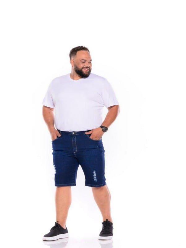Bermuda Jeans Stretch Rasgada Masculina Plus Size 50 ao 64 2059