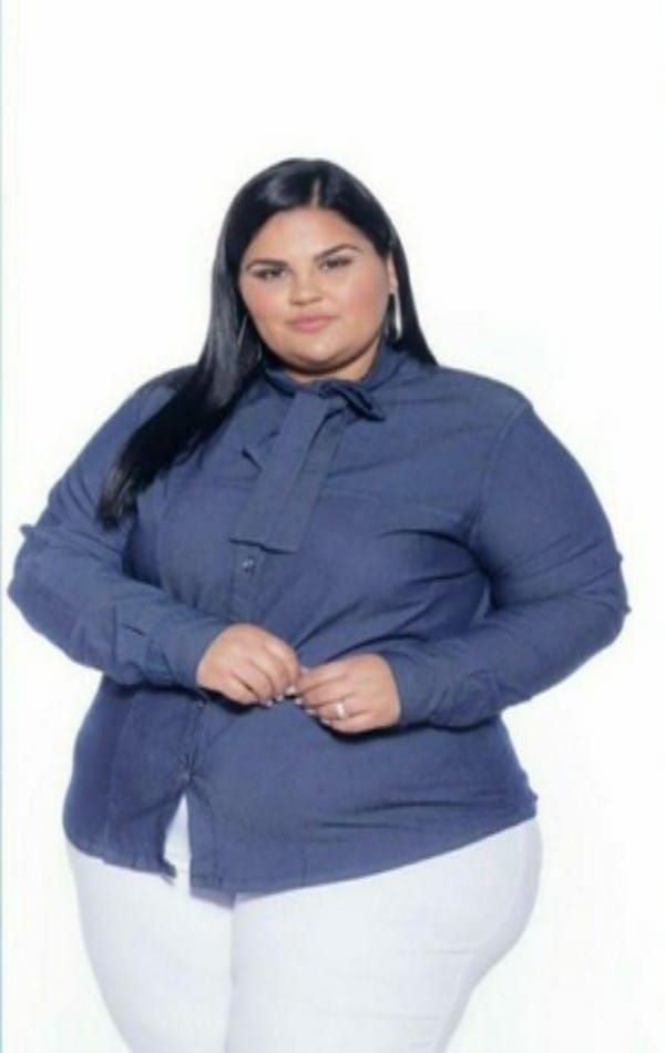 Camisa Jeans  Stretch Manga Longa Gola Laço Feminino Plus Size 3171
