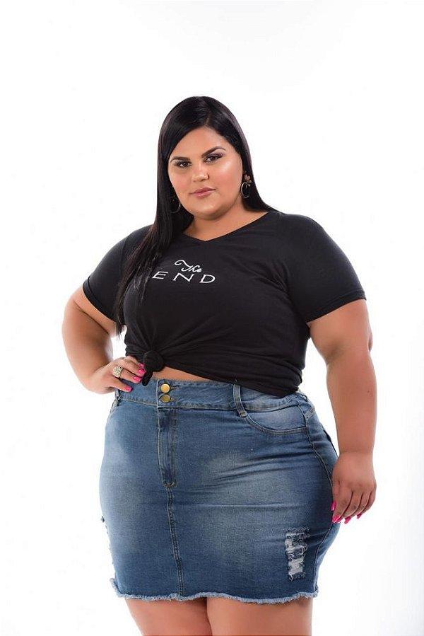 Mini Saia Jeans Stretch Rasgadinha Plus Size 3135