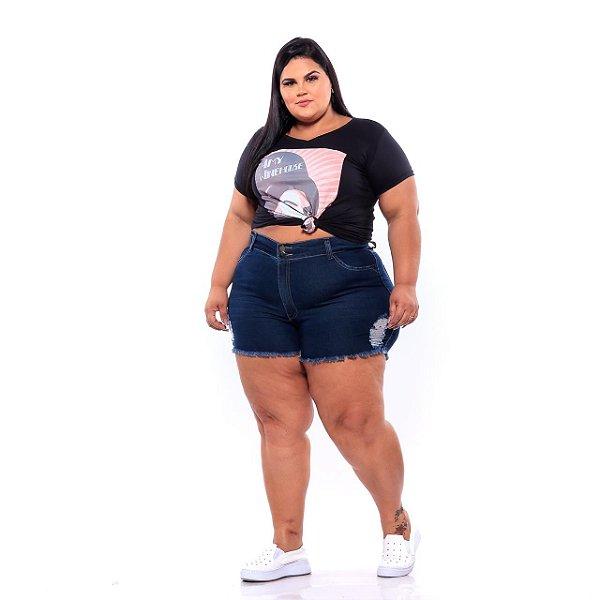 Shorts Jeans Curto Com Desgaste Natural Escuro Feminino Plus Size 3202
