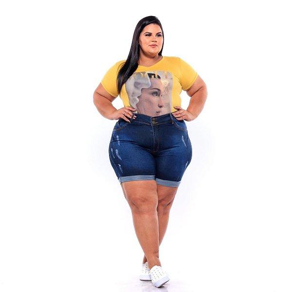 Bermuda Jeans Feminina Meia Coxa Com Barrinha Dobrada Plus Size 3200