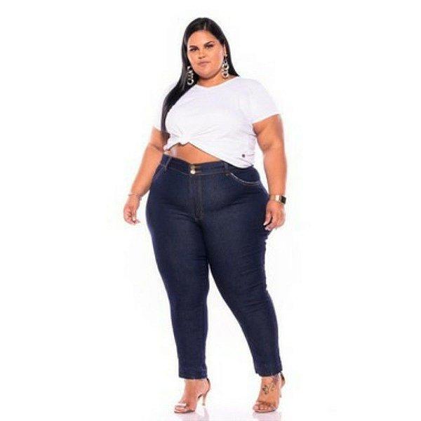 Calça Jeans Feminina Stone Cotonete Bolso Escura 62 ao 70 3229