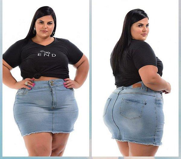 Mini Saia Jeans Feminina Plus Size Pequenos defeitos