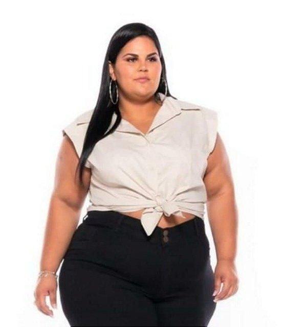 Camisa Regata Tricoline Stretch Feminina Bege Plus Size XP ao G5 3222
